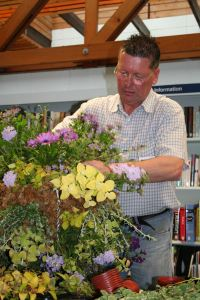 Hanging baskets in Calverley Library