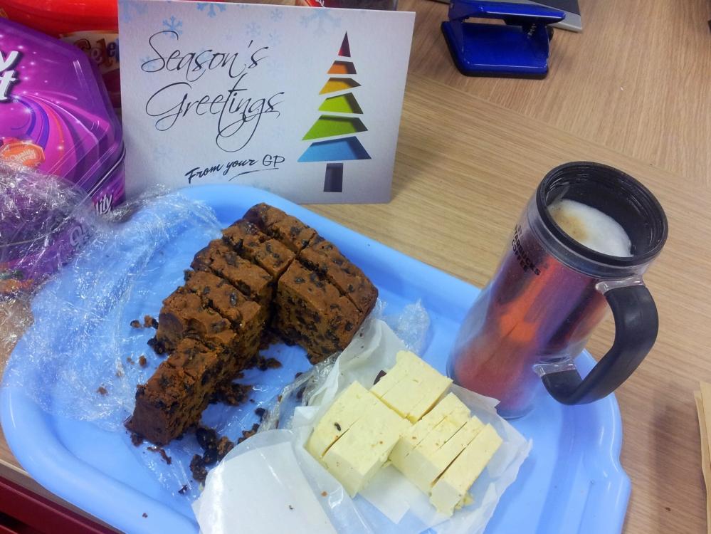 Christmas cake, cheese, a mug of coffee, perfect.