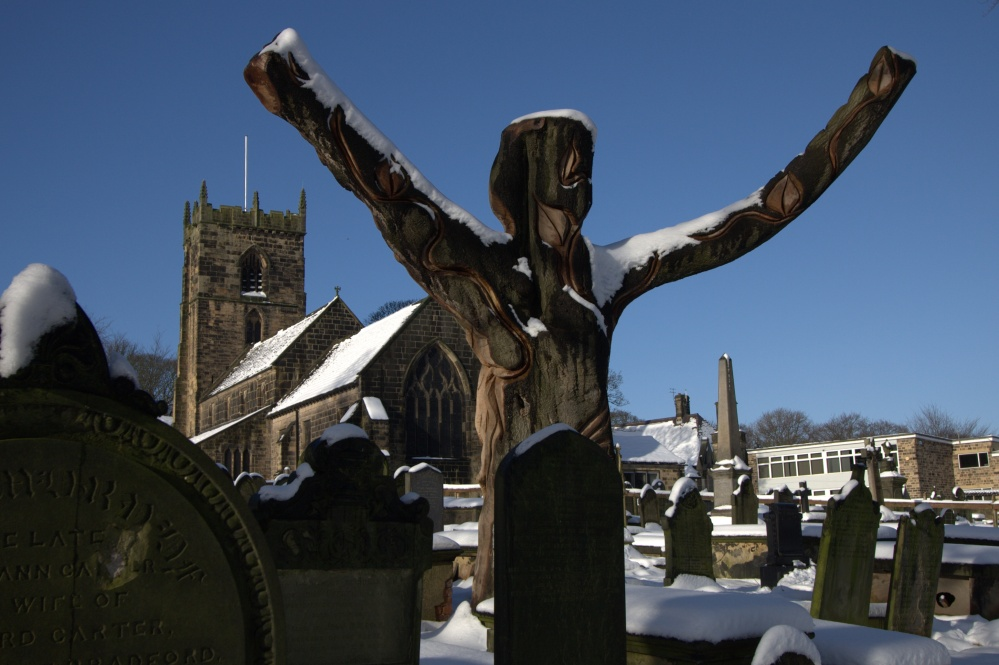 The Calverley Angel and St Wilfrid's Church.