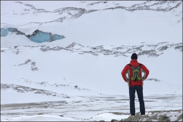 Noel at the Colombia Icefields. By gum it was cold!