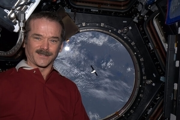 Cmdr Chris Hadfield, self portrait from space. How cool is THAT?
