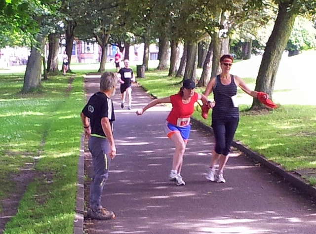 Additional training at the Red Welly Relay, Leeds parkrun. The wellies are the batons, it was girls against boys, 25 in each team running 200 metres each. The boys won, we woz robbed!