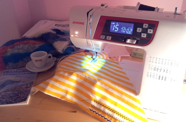 Testing out the running stitches on my new sewing machine
