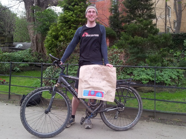 Stuart and the bike he'll pedal across America