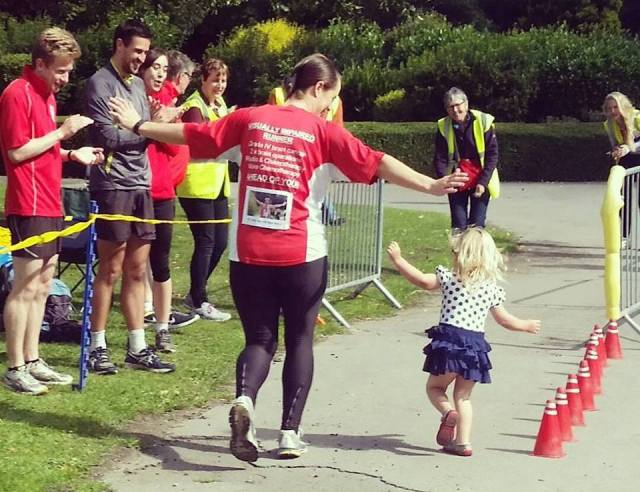 Nicola and Poppy cross the finish line. Thanks to Krystal Taylor for the photo
